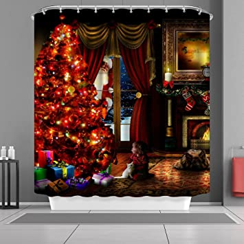 US Christmas Fireplace Waterproof Shower Curtain Bath Mat Carpet Toilet Cover