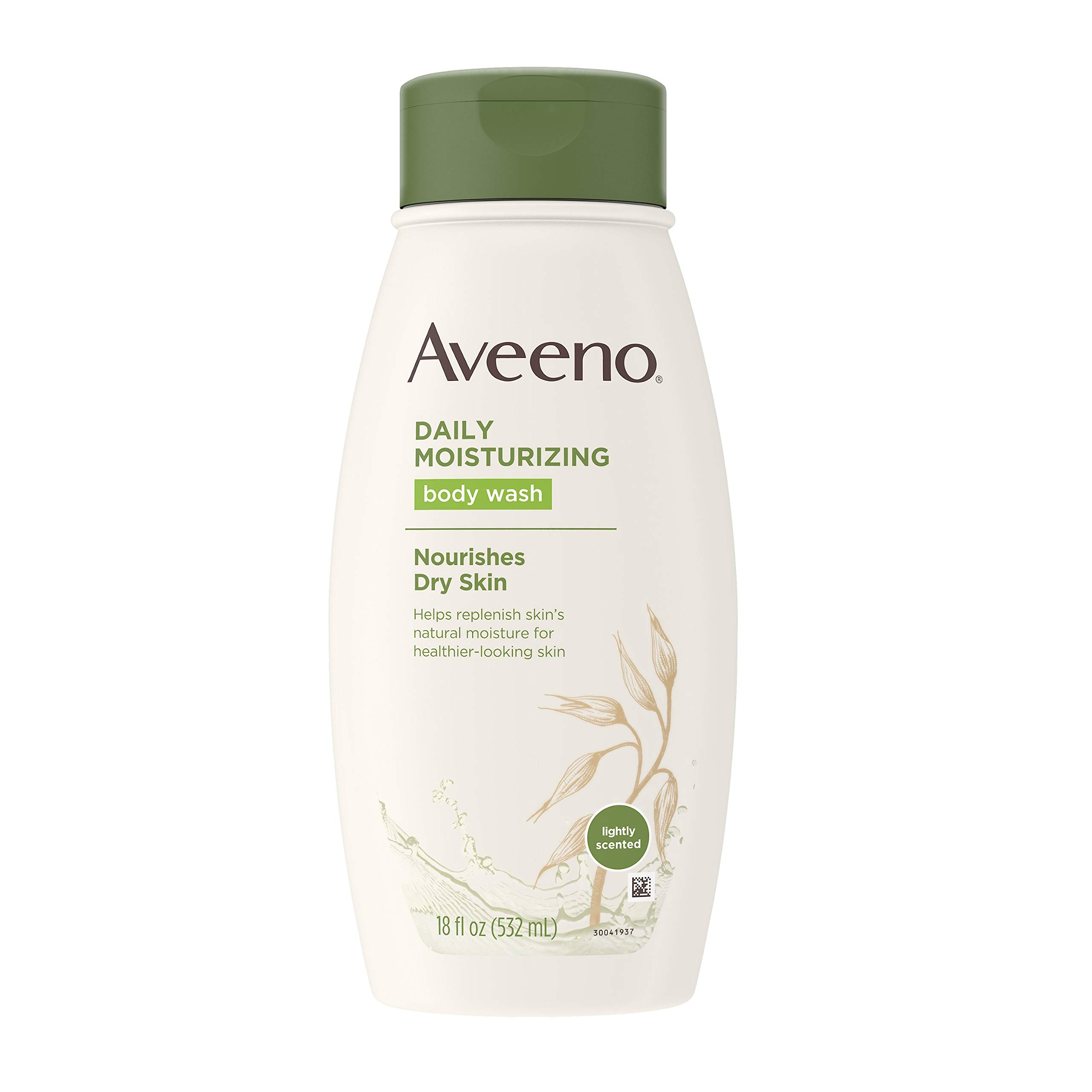 Aveeno Daily Moisturizing Body Wash for Dry Skin with Soothing Oat & Rich Emollients, Creamy Shower Cleanser, Gentle, Soap-Free and Dye-Free, Light Fragrance, 18 Fl Ounce