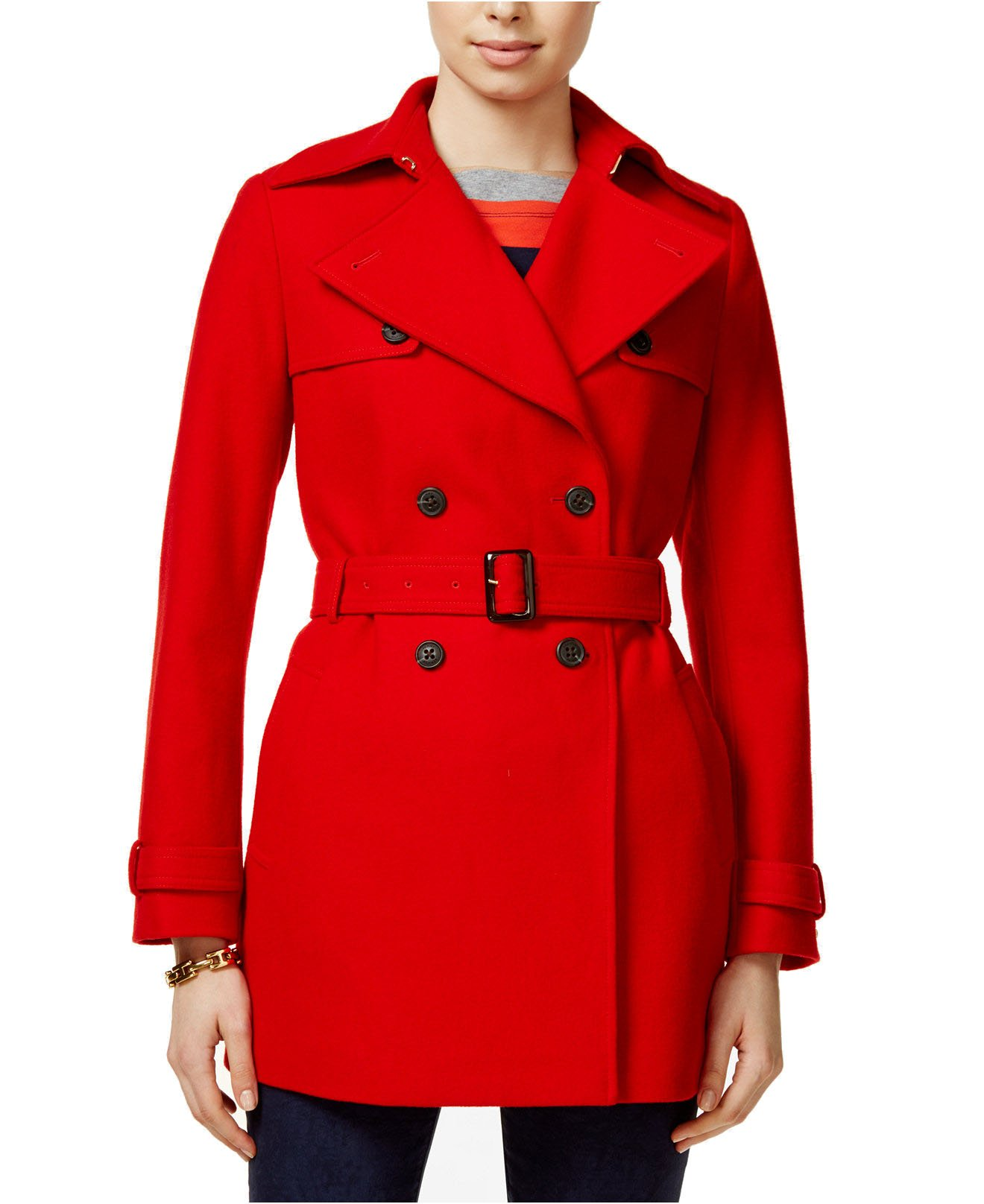 Tommy Hilfiger Women's Wool-Blend Belted Trench Coat (Racing Red, Medium)