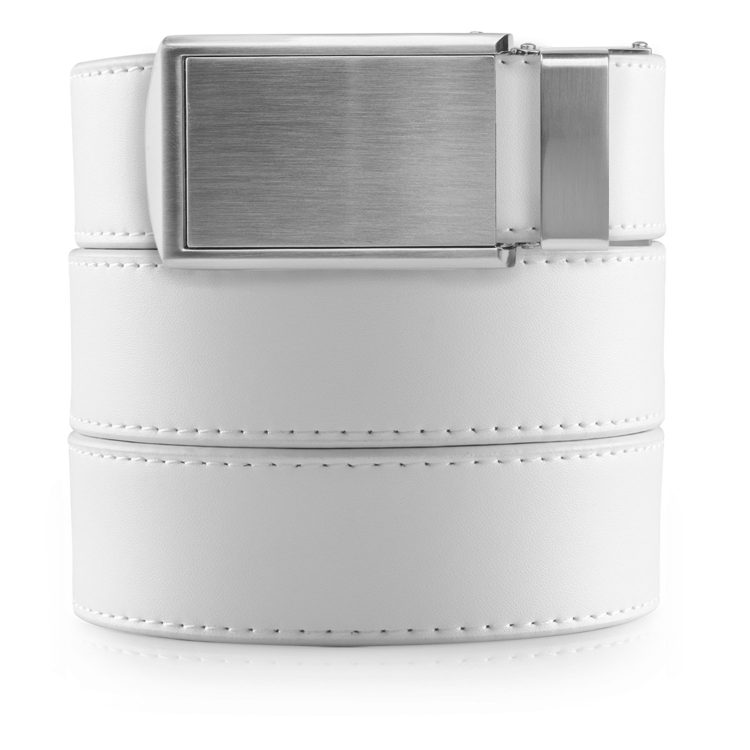 SlideBelts Men's Vegan Leather Belt without Holes - Silver Buckle/White Leather (Trim-to-fit: Up to 48'' Waist)