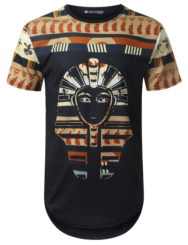 URBANTOPS Mens Hipster Hip Hop Egypt Pharao Dashiki Longline T-Shirt Black, XXL