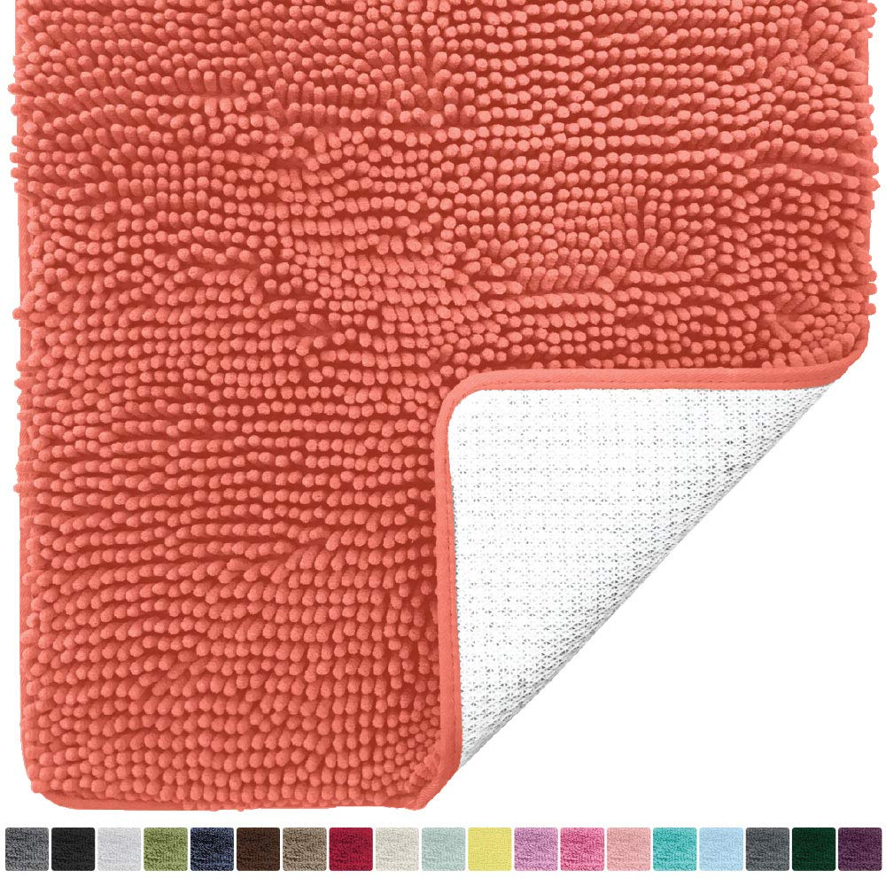Gorilla Grip Original Luxury Chenille Bathroom Rug Mat, 44x26, Extra Soft and Absorbent Large Shaggy Rugs, Machine Wash Dry, Perfect Plush Carpet Mats for Tub, Shower, and Bath Room, Coral