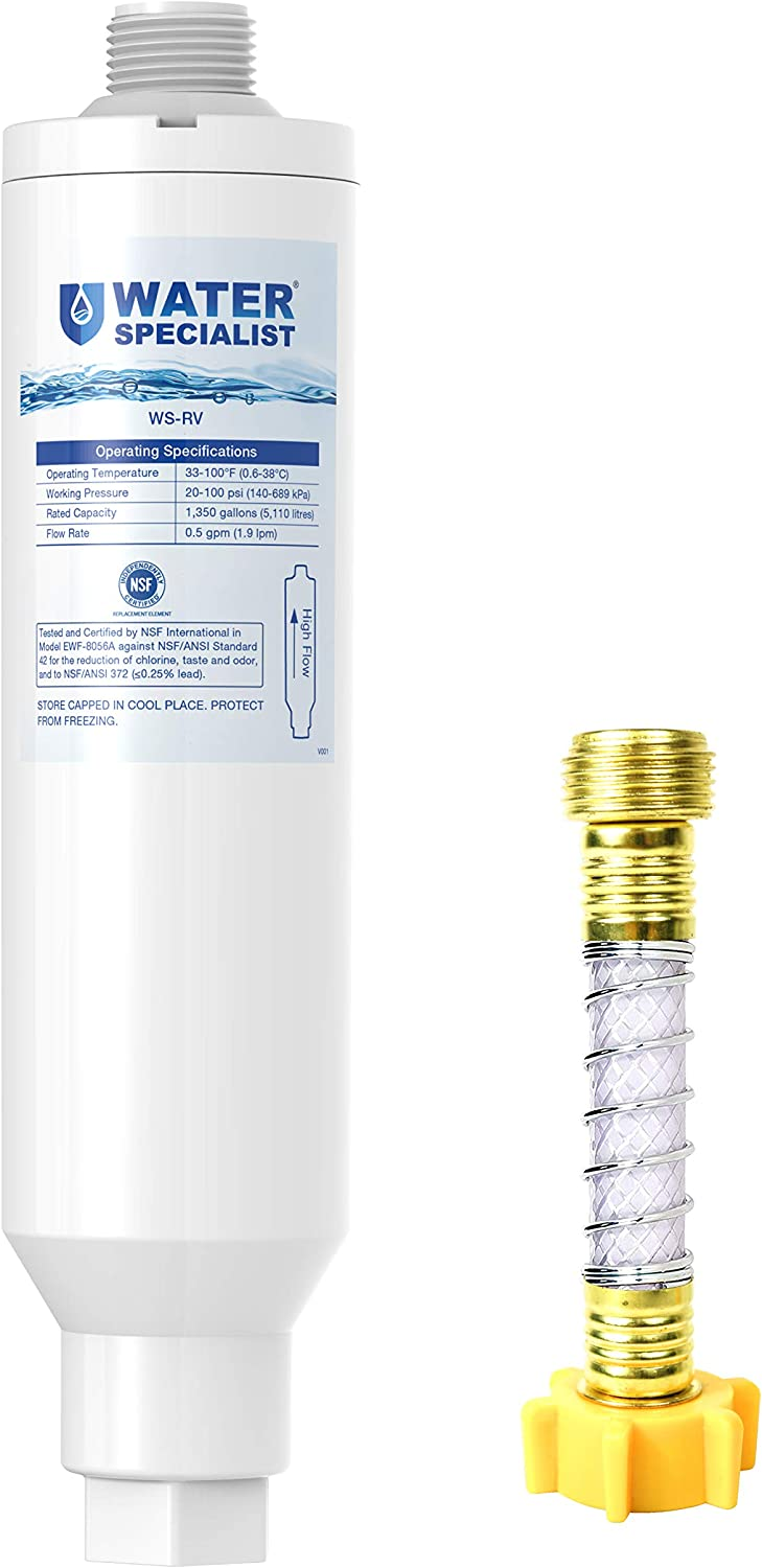 Waterspecialist 1 Pack with Hose Protector RV Inline Water Filter