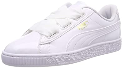 sports shoes e1556 4b0b6 Puma Unisex Kid's Basket Heart Patent Jr White B Black-Prism ...