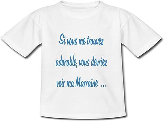 T-Shirt B/éb/é Veux tu /être ma Marraine YONACREA Bleu