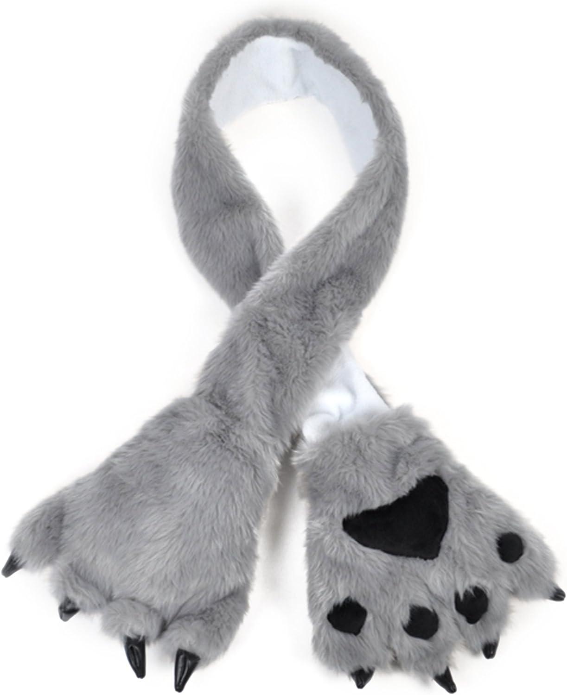 Animal Fur Scarf With Paw...