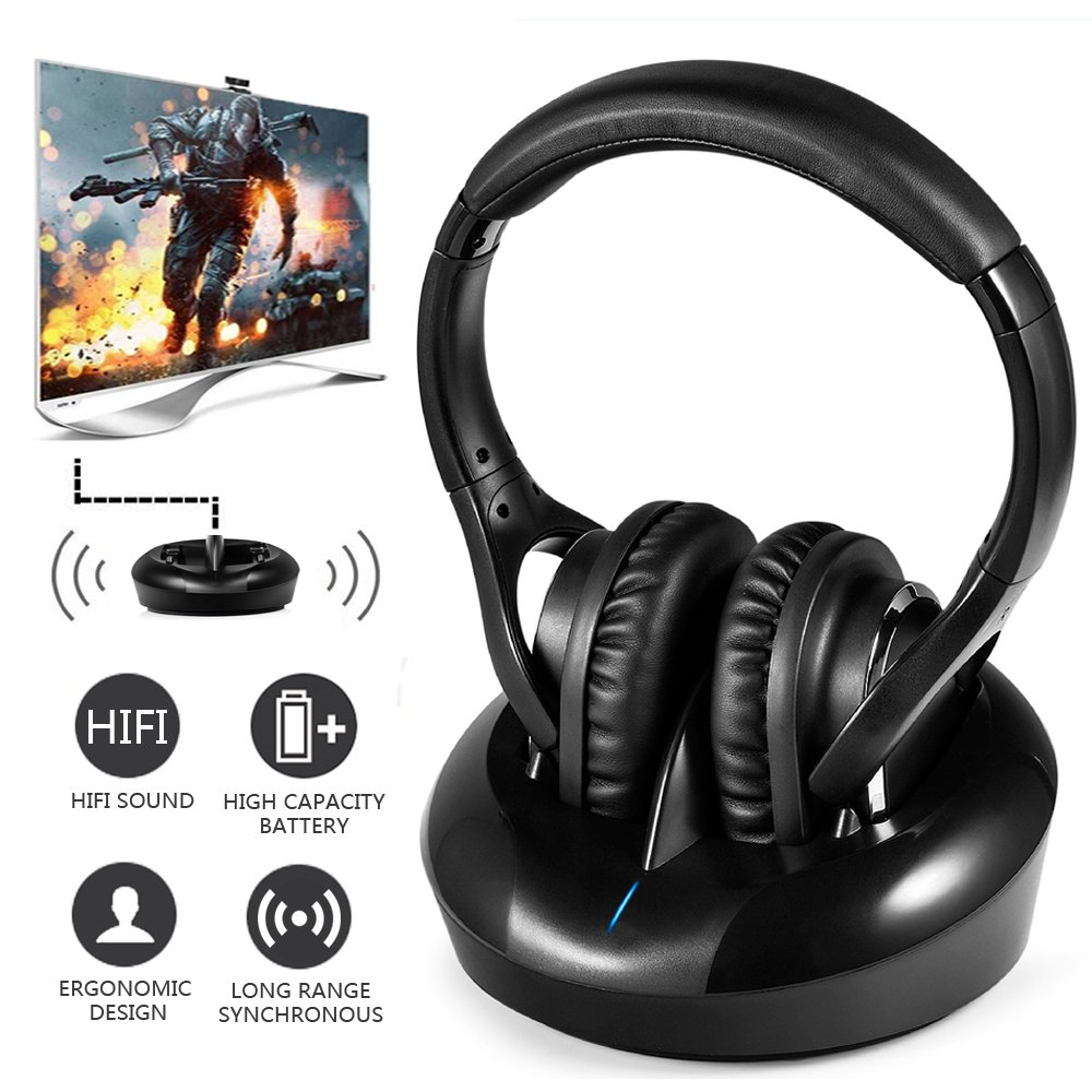 Wireless RF TV Headphones Optical UHF Hifi Transmitter 328 feet Wireless Range Clear Stereo Sound with Charging Dock Compatible 3.5 mm Audio Connector, RCA, Wired Optional for Smart TV PC Phone Laptop