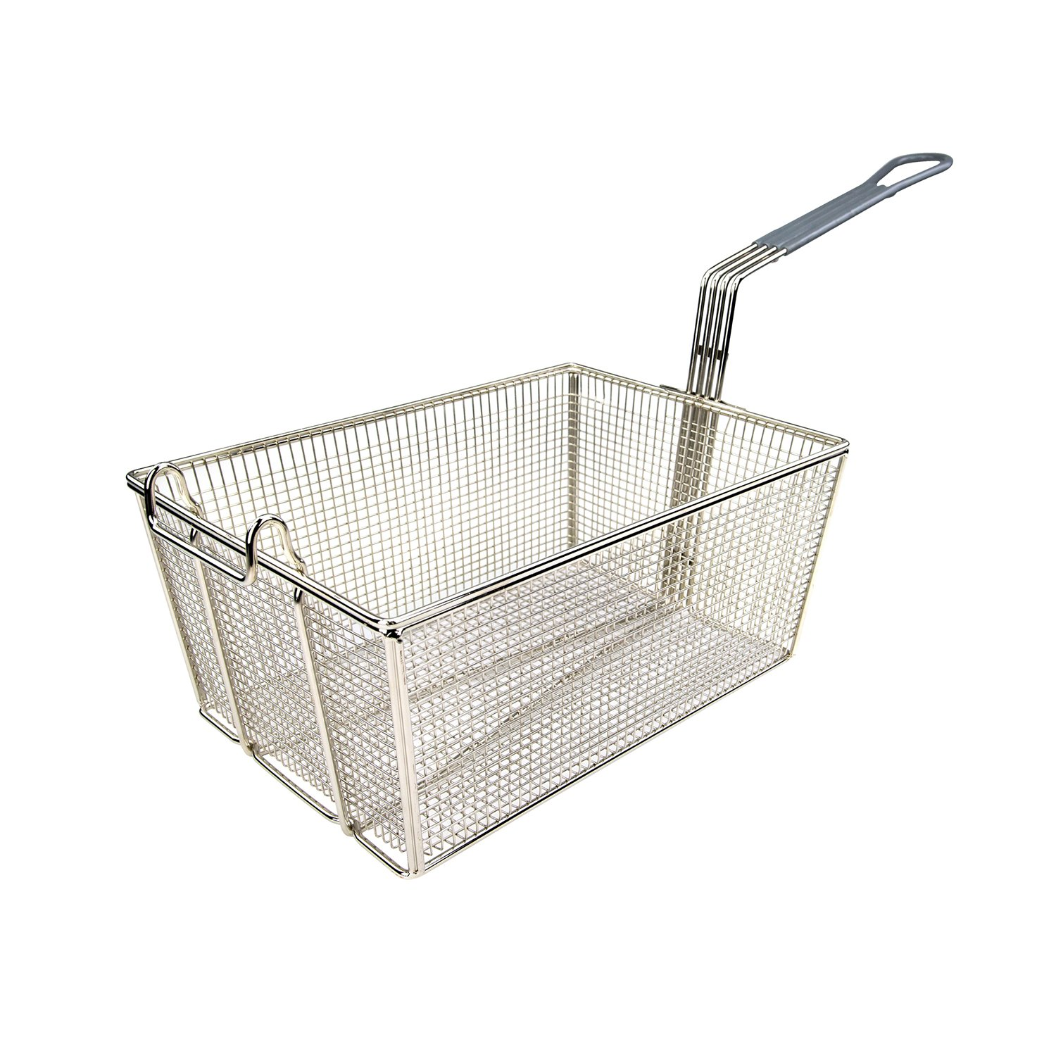 Wincо FB-35 Nickel-Plated Fry Basket 13-3/8'' with Gray Coated Handle