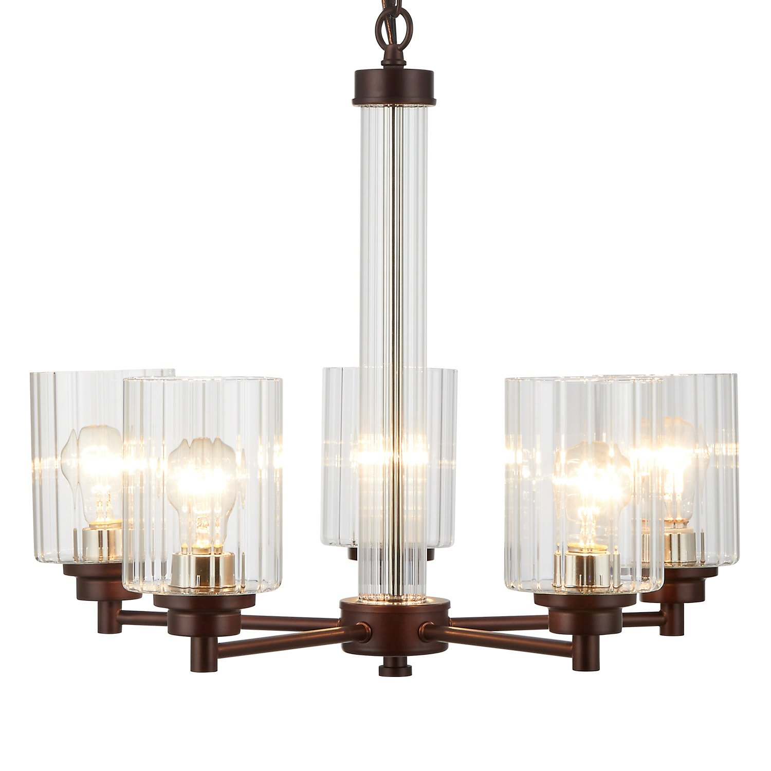 Doraimi 3/5 Light Chandelier Lighting Traditional Ceiling Light Fixture with Satin Etched Cased Opal Glass Shade for Foyer, Dining Room, Living Room, Family Room (Brown, 5 Light)