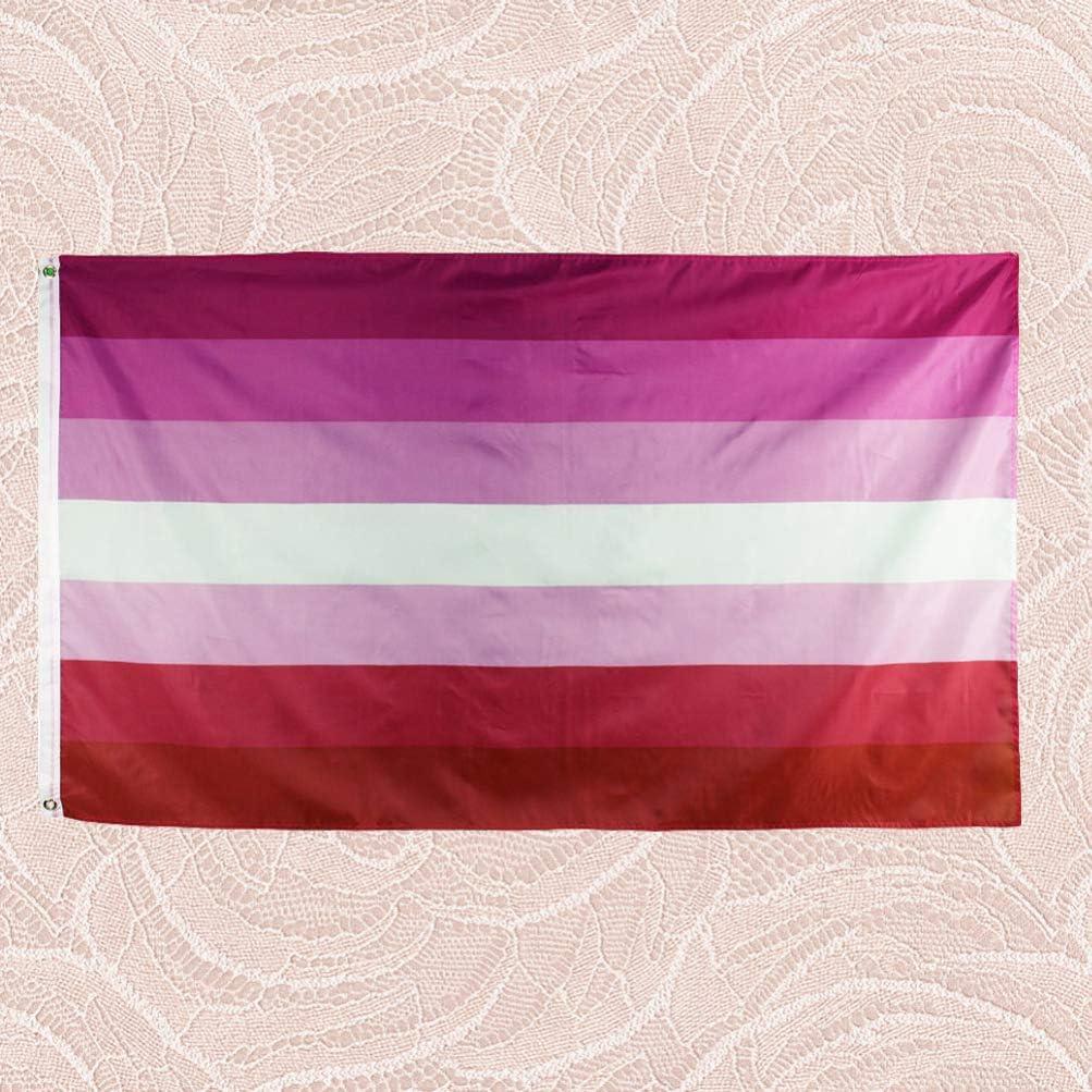 Nuobesty Lesben Stolz Flagge Polyester Regenbogen Flagge Banner Lebendige Farbe Girlande Girlande Für Thema Party Dekor 90x150cm Sport Freizeit