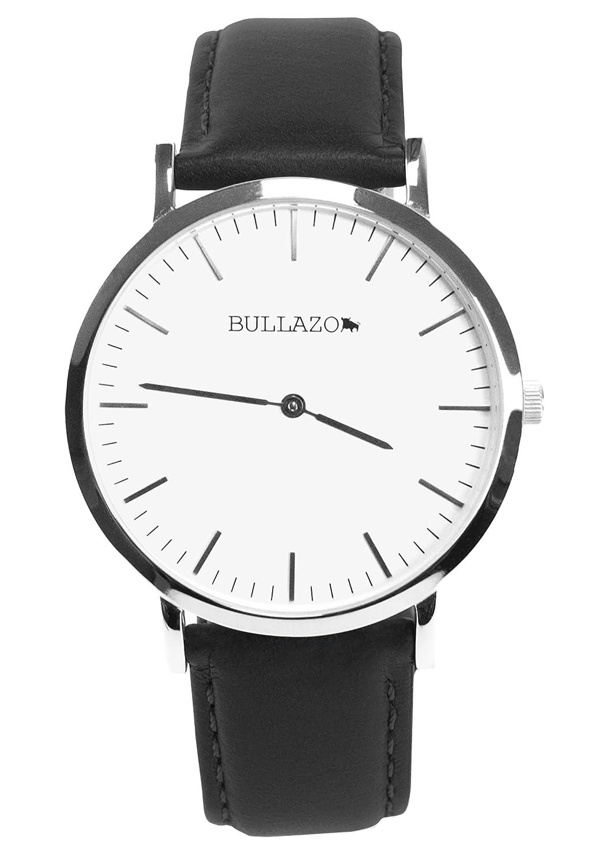 BULLAZO SENCILLO Uhr mit Analog Quarz Uhrwerk aus Edelstahl mit Echtleder Wechselarmband. Armbanduhr fÜr Damen und