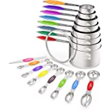 Measuring Cups and Magnetic Measuring Spoons Set, Wildone Stainless Steel 16 Piece Set, 8 Measuring Cups & 7 Double…