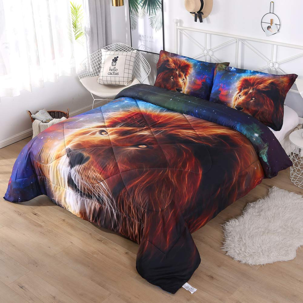 DECMAY 3D Gold Lion Bedding with Blue Mythical Starship Print Galaxy Space Comforter Set for Kids Children and Adults 3 Pieces Box Stitched Durable Quilt Set, Twin Size