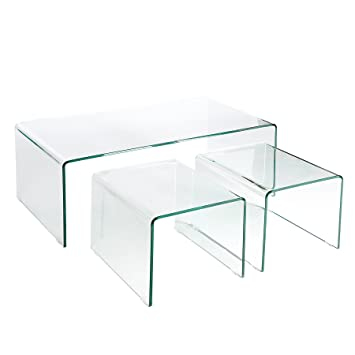 Invicta Interior Modernes 3er Set Glas Couchtische Ghost