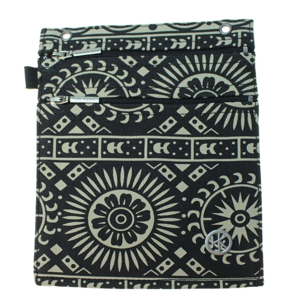 Double Zipper Hip Klip - Extra Large with Elastic Loop - Mayan Moon - Cotton