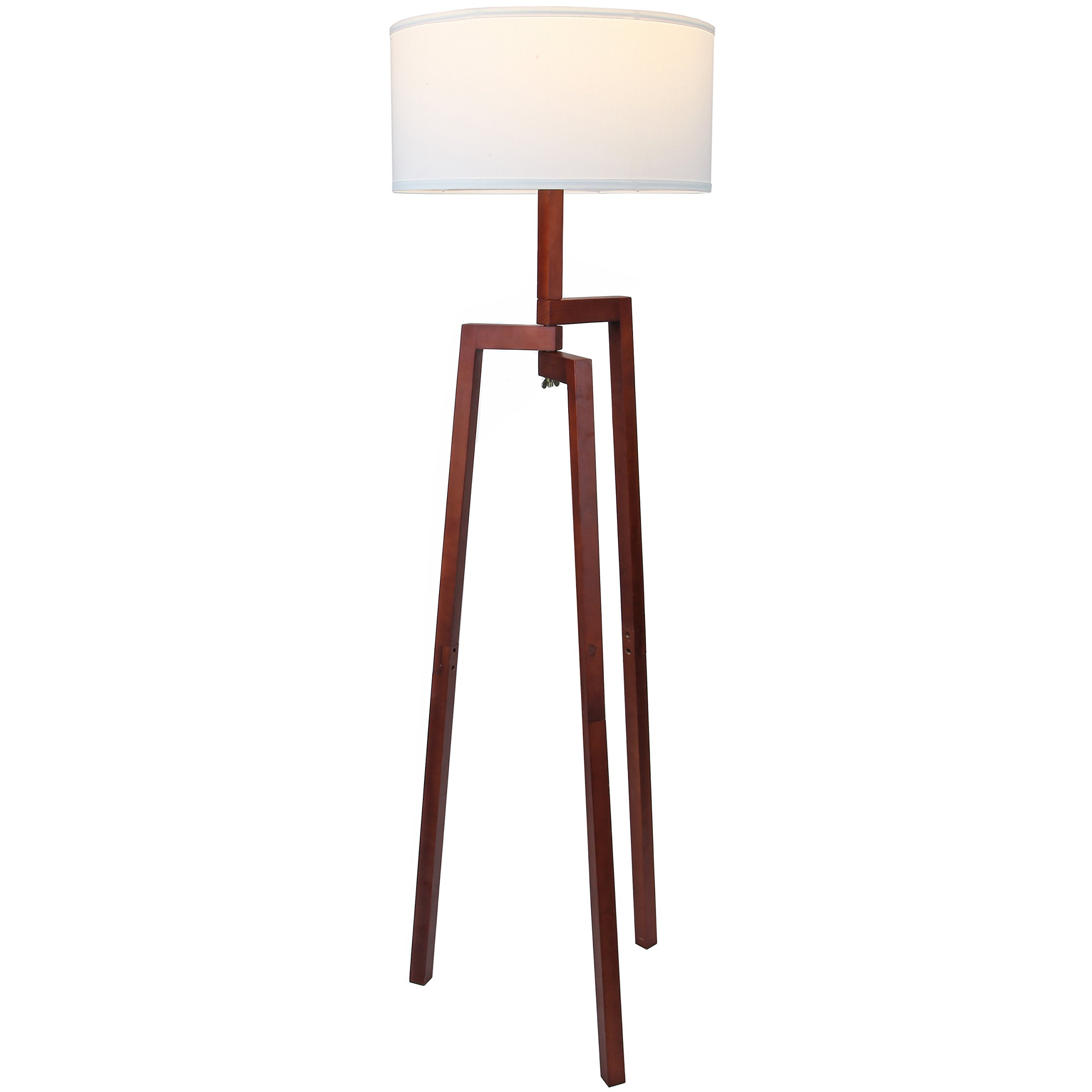Brightech New Mia LED Tripod Floor Lamp– Modern Design Wood Mid Century Style Lighting for Contemporary Living or Family Rooms- Ambient Light Tall Standing Survey Lamp for Bedroom, Of - Havana Brown