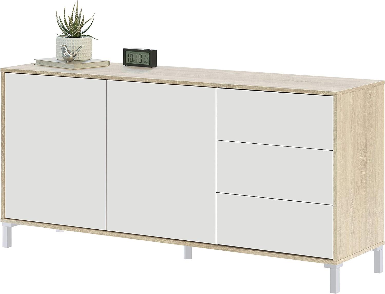 Habitdesign Mueble Aparador, Modelo Brooklyn, Roble Canadian y Blanco Artik, Medidas: 154 cm (Ancho) x 74 cm (Alto) x 41 cm (Fondo)