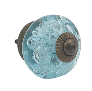 Aqua Blue Bubbles Glass (Dark Hardware) Dresser Drawer, Cabinet or Door Knob Pull - Pack of 10
