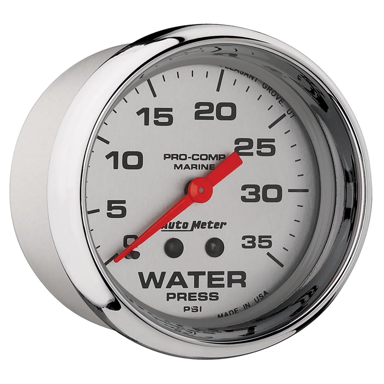 35Psi Water Press 2 5//8 Auto Meter AutoMeter 200773-35 Ultra-Lite Gauge Marine Chrome Mechanical