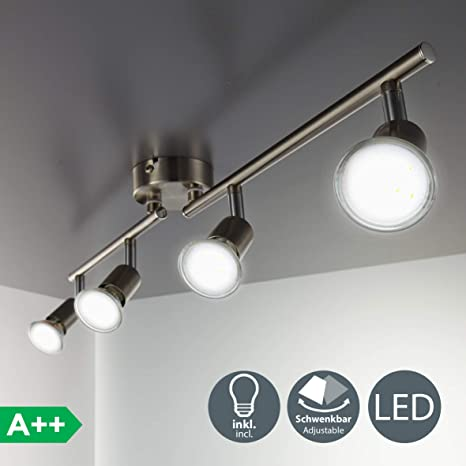 BKLicht Foco LED para techo I Lámpara de techo con focos redondos I incl. 4 x 3 W bombillas LED GU10 I lamparas de techo led I Luz de techo I Plafon I ...