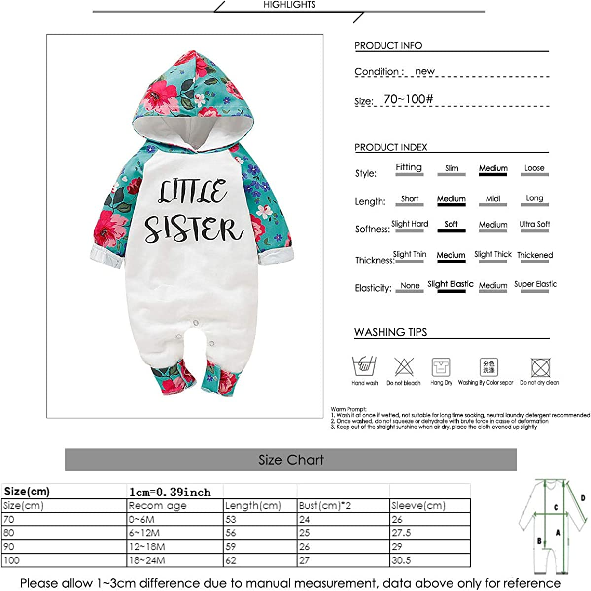 Borlai Little Sister Floral Romper Girls Long Sleeve Warm Onesies Hooded Bodysuit Jumpsuit 0-24 Months