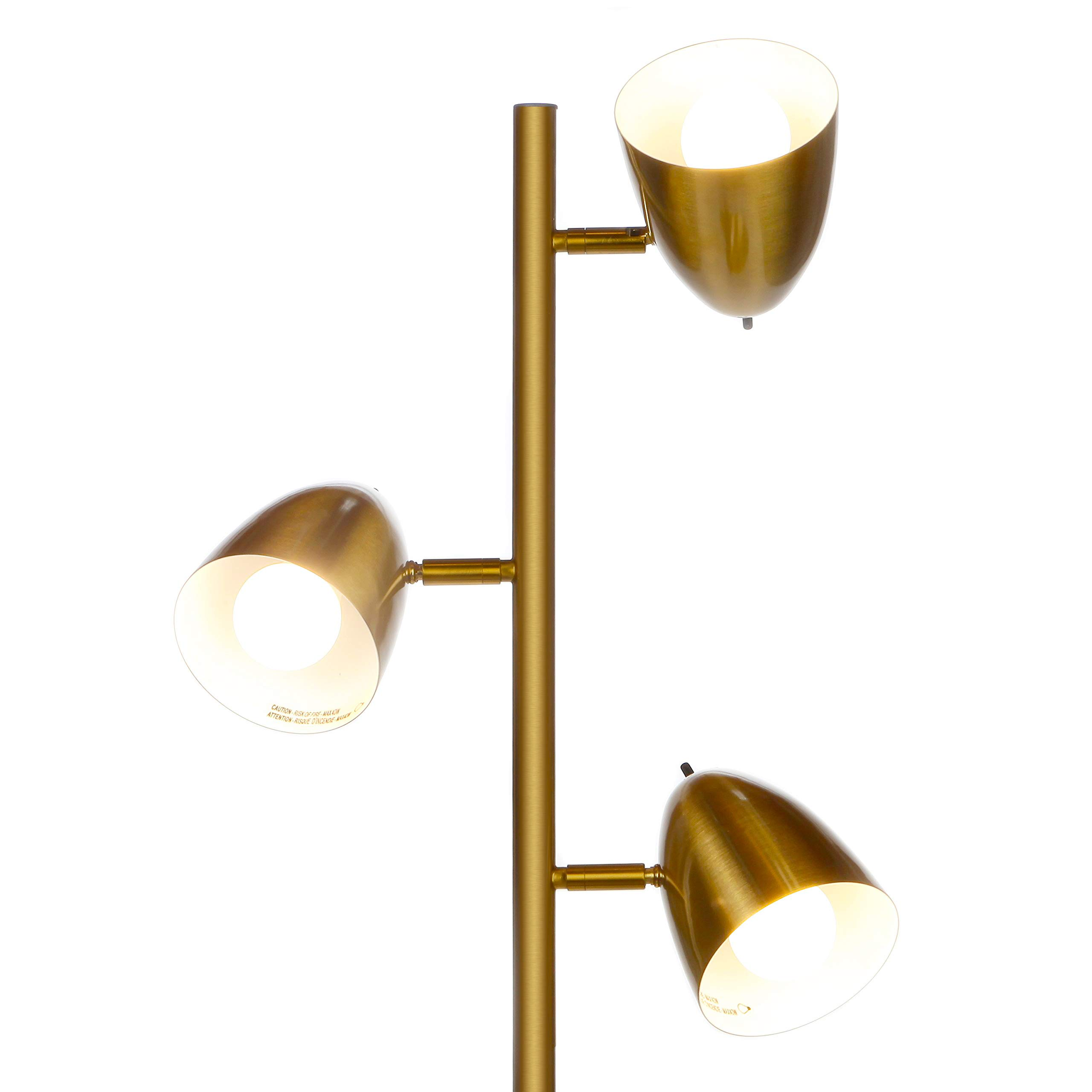Brightech Jacob - LED Reading and Floor Lamp for Living Rooms & Bedrooms - Classy, Mid Century Modern Adjustable 3 Light Tree - Standing Tall Pole Lamp with 3 LED Bulbs - Antique Brass/Gold by Brightech (Image #2)