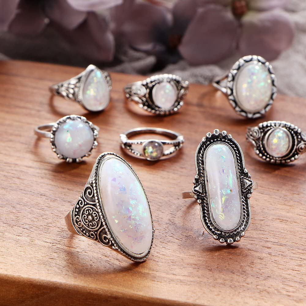 Nmch 8Pcs Boho Jewelry Silver Natural Gemstone Moonstone Personalized Ring Midi Finger Rings Knuckle Ring Set