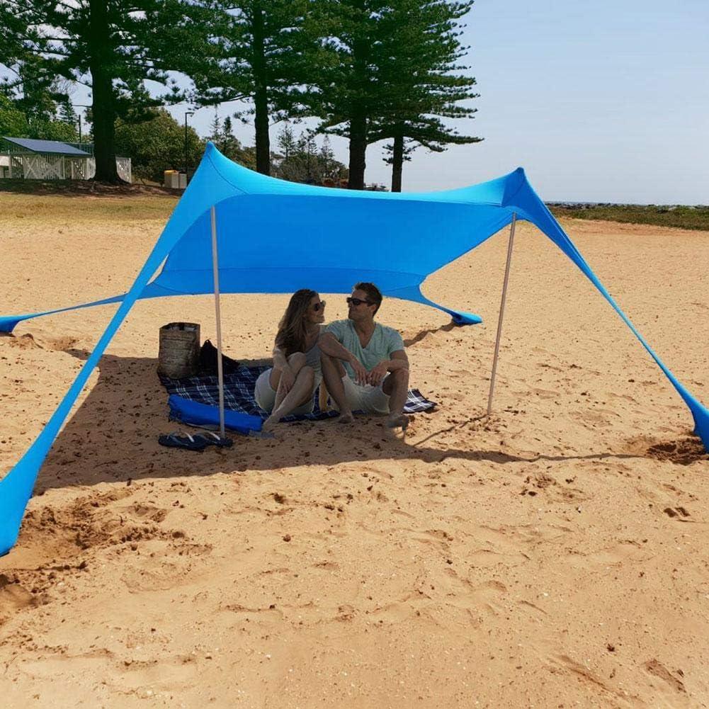 Bloomma Toldo port/átil para Playa con anclajes para bolsas de arena 4 clavijas gratis,Pabell/ón de parasol Protecci/ón UV UPF50 ,210X210X160 cm
