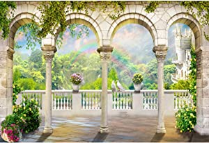 DORCEV 10x6.5ft Vintage Garden Backdrops Fairy Castle Garden Princess Theme Birthday Party Background Baby Shower Bridal Shower Background Rainbow Balcony Scenery Romantic Wedding Photo Studio Props