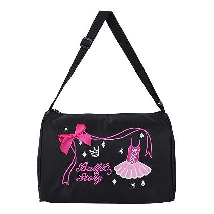 7ba015a3fef Freebily Girls Kids Ballet Dance Shoulder Duffel Bag Gym Tote Dance Bags  Black One Size