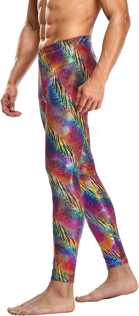 HDE Mens Holographic Meggings; Leggings for Halloween Costume Festival Disco