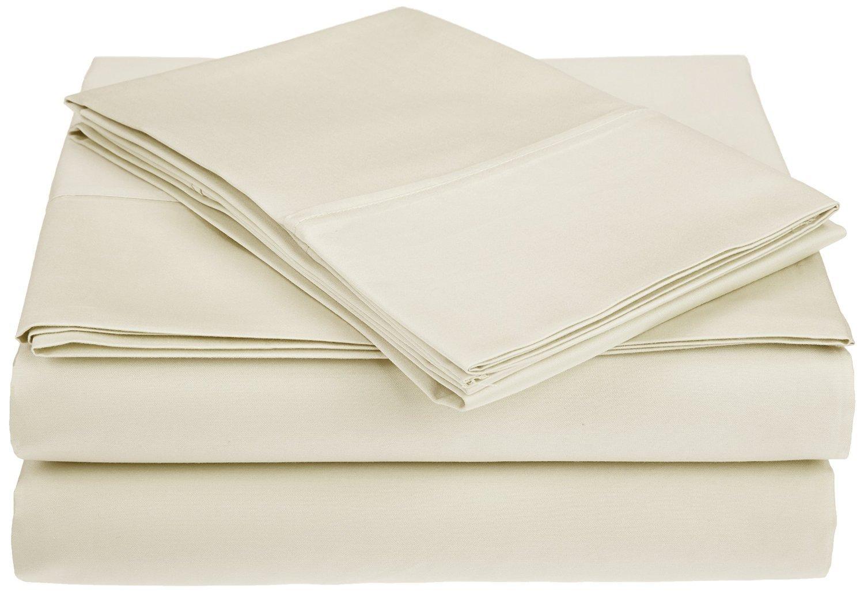 Superior - Juego de sábanas 152 x 203 cm, esquineras Profundas, 100% algodón de 450 Hilos y de un Solo Cabo, Color Marfil Liso, 4 Piezas: Amazon.es: Hogar