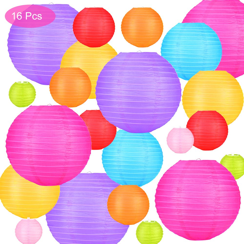16 Pcs Paper Lanterns Decorative with Assorted Colors and Sizes - Chinese/Japanese Paper Hanging Decorations Ball Lanterns Lamps for Home Decor, Parties, and Weddings