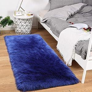 Noahas Luxury Fluffy Rugs Bedroom Furry Carpet Bedside Faux Fur Sheepskin Area Rugs Children Play Princess Room Decor Rug, 2ft x 4ft, Navy Blue