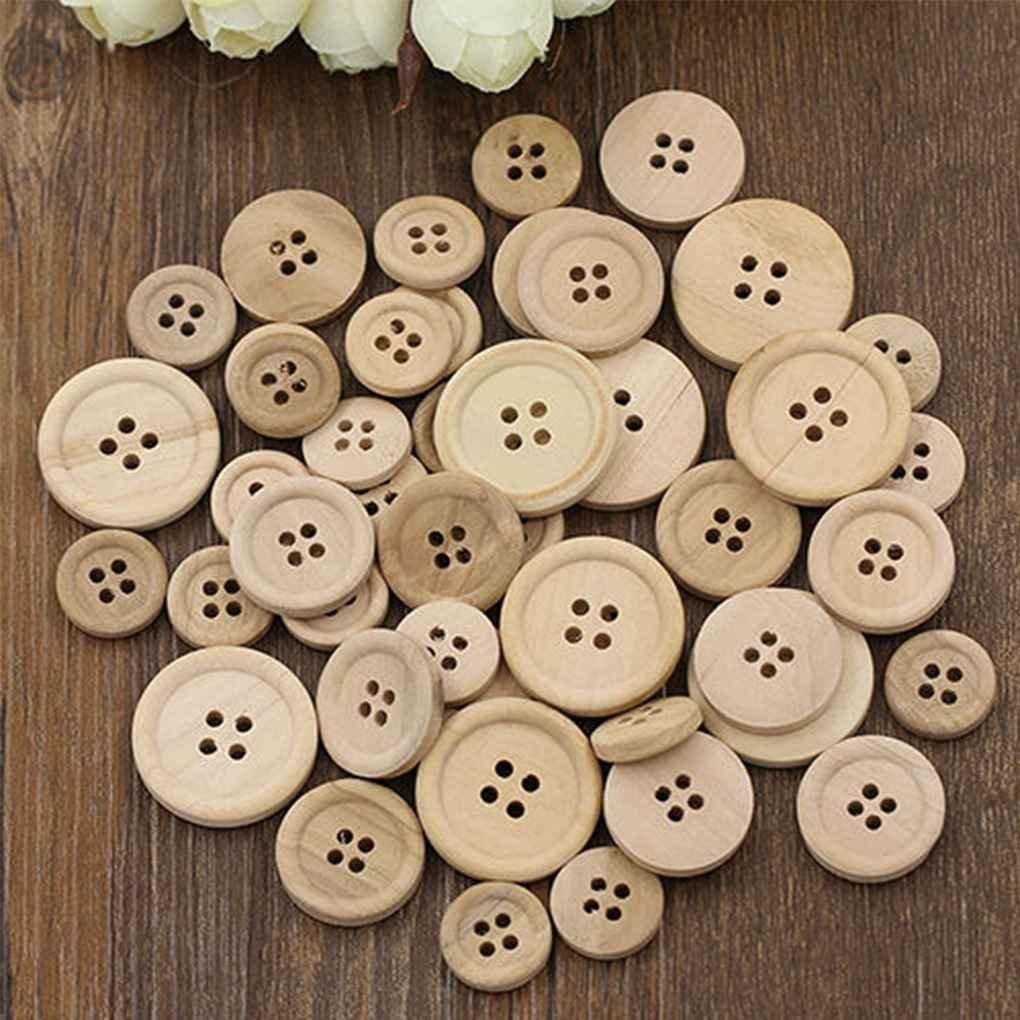 100 PZ Bottoni in Legno Misti Colore Naturale Rotondo 4 Fori Cucito Scrapbooking DIY Regard
