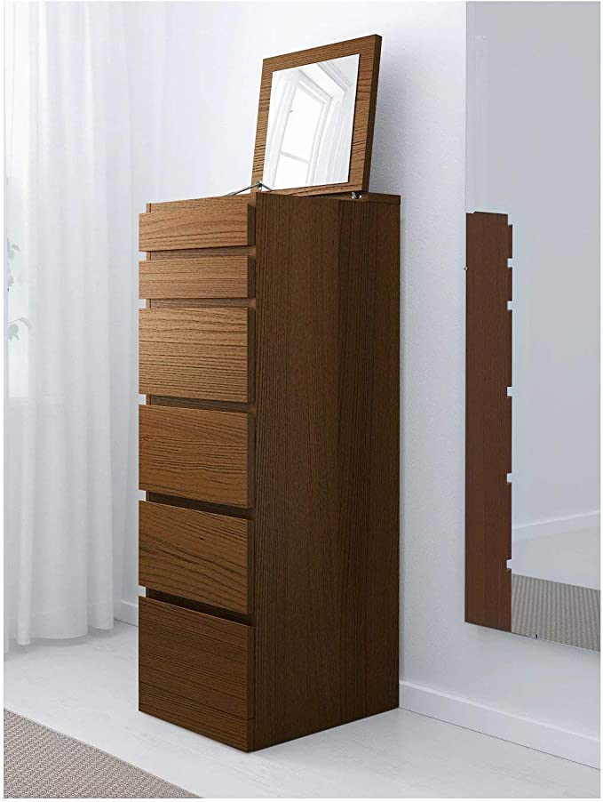 IK IKEA Malm - Cómoda con 6 cajones, Color marrón con Cristal de Espejo, 40 x 123 cm: Amazon.es: Hogar