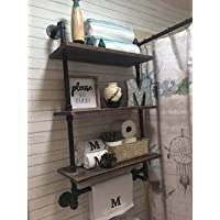 Industrial Pipe Shelf Bathroom Shelves Wall Mounted,19.6in Rustic Wood Shelf With Towel Bar,3 Tier Black Farmhouse Towel Rack Over Toilet,Pipe Shelving Metal Floating Shelves Iron Towel Holder