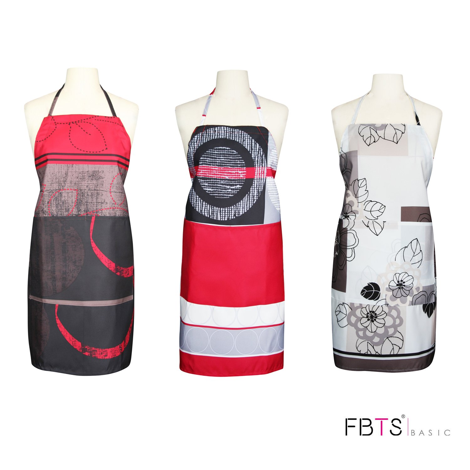 FBTS Basic Aprons For Women And Men 3 Packs Water Resistant Adjustable Buckles with Two Big Front Pockets