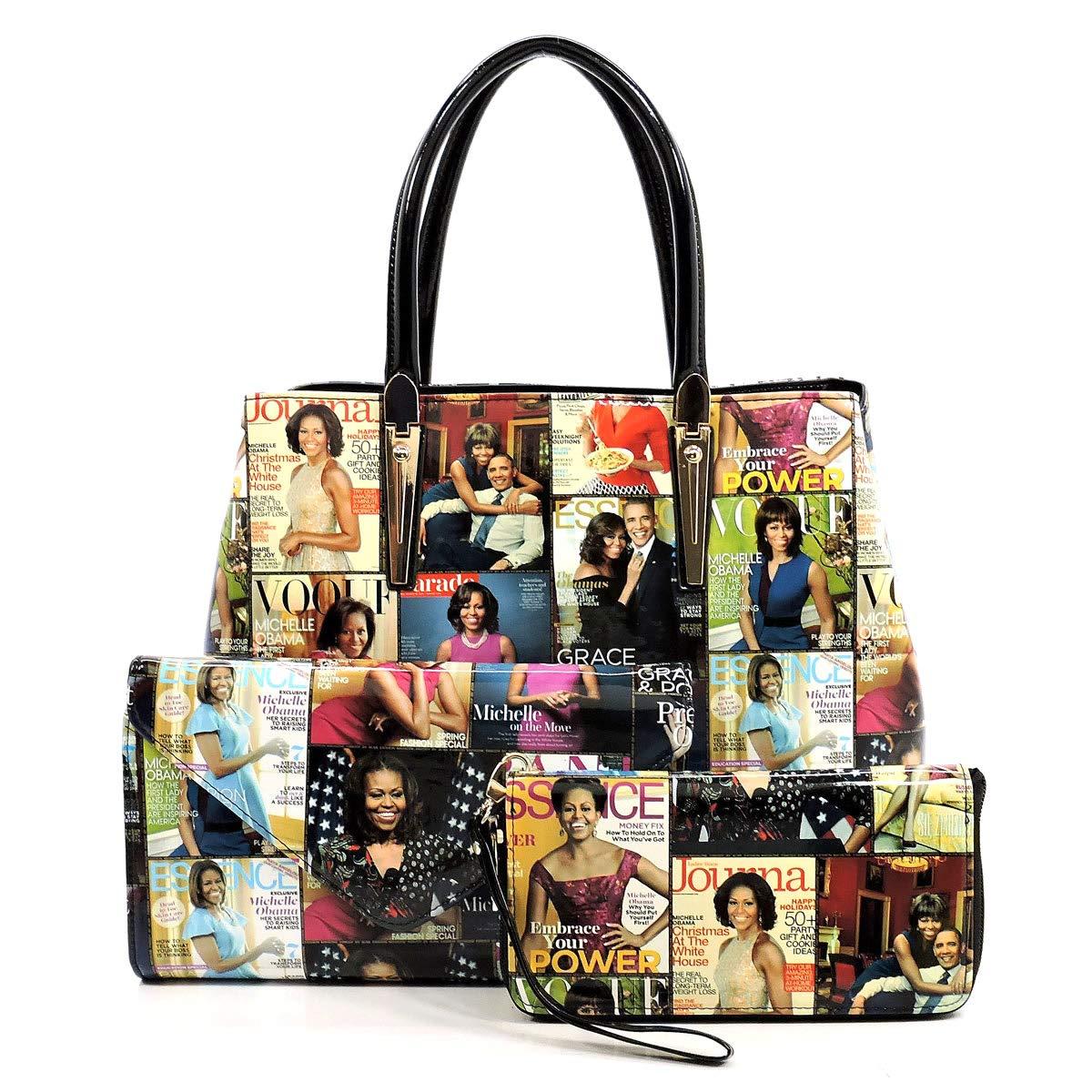 Multi Bk Glossy Magazine Cover Collage Michelle Obama Printed Satchel Bag + Envelope Clutch + Wallet 3pcs set