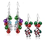 Amazon Price History for:Christmas Jingle Bell Earrings - 2 Pairs Christmas Earring Set Costume Jewelry Gift for Women Girls Cute Festive Xmas Santa Clause Drop Dangle Earrings Festive Holiday Birthday Party Anniversary Gift