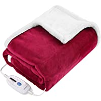 "Electric Blanket Heated Throw Fast Heating Blanket Flannel & Sherpa Reversible 50"" x 60"" with 3 Hours Auto Off & 4…"