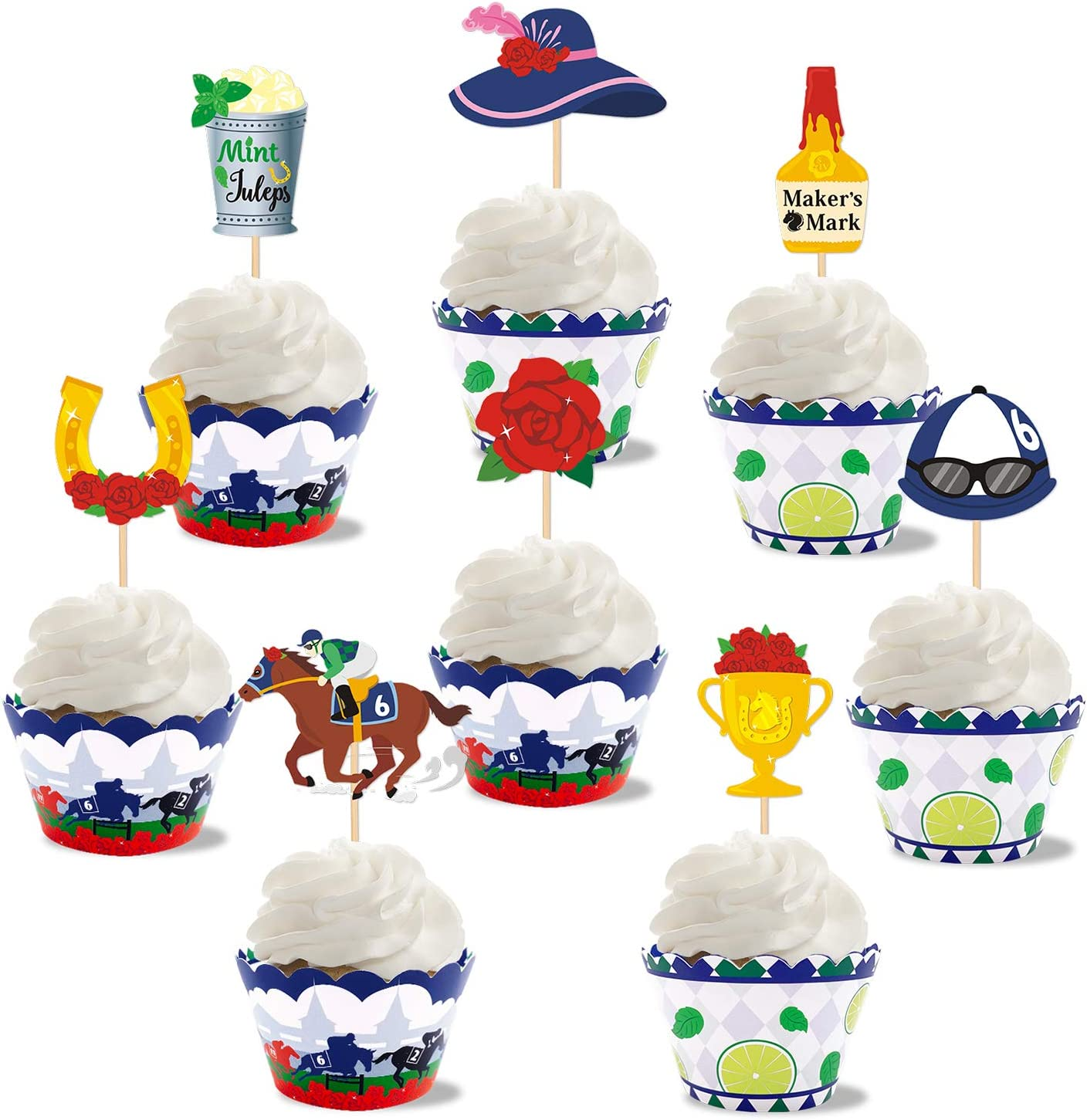 Kentucky Derby Cupcake Toppers&Wrappers
