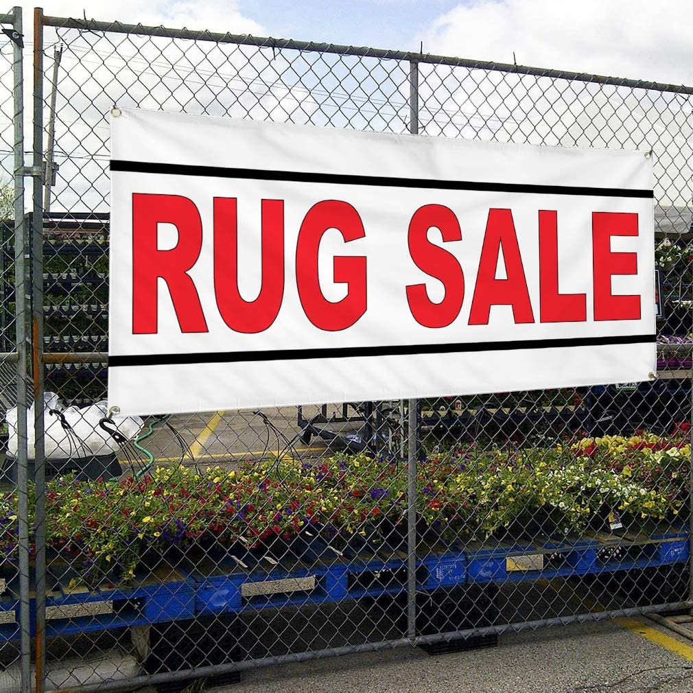 Vinyl Banner Multiple Sizes Rug Sale Red B Business Outdoor Weatherproof Industrial Yard Signs 10 Grommets 60x144Inches