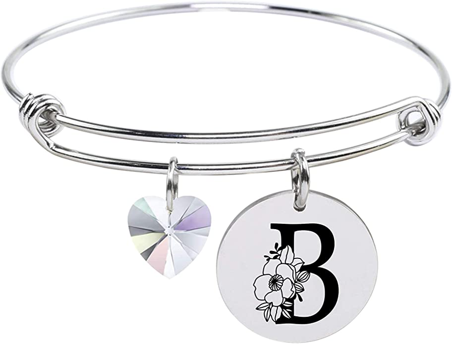 Gold Pink Box Stainless Steel Floral Initial Bangle Made with Crystals from Swarovski T