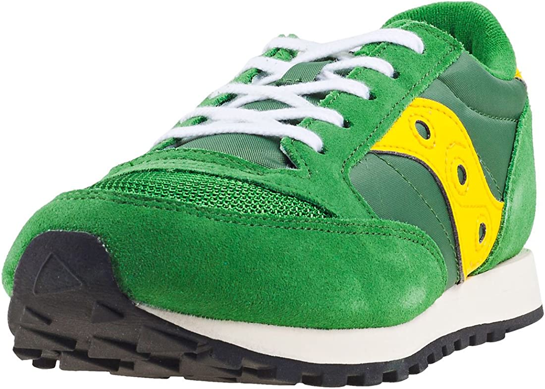 Saucony Jazz Original Vintage Kids Green Yellow Suede /& Mesh Fashion Trainers