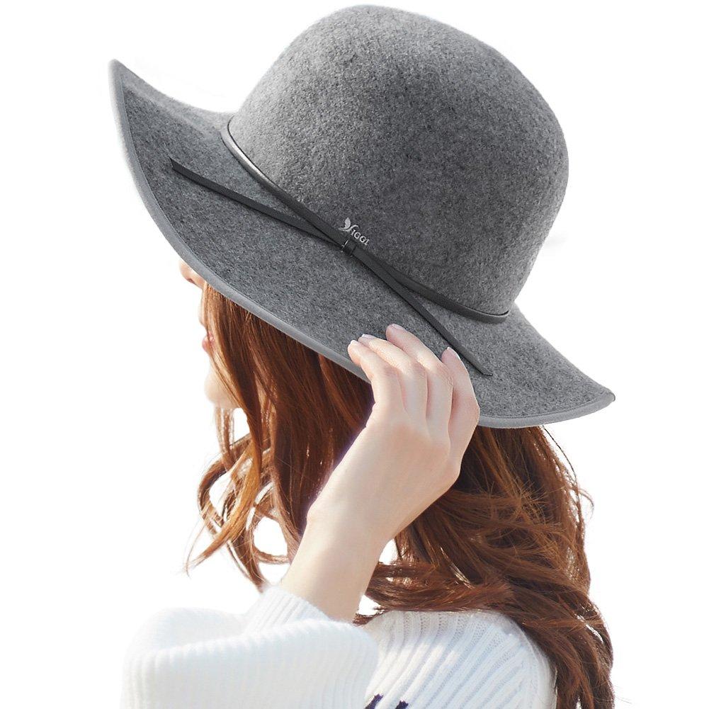 0a883e4428f61 SIGGI 100% Wool Felt Floppy Fedora Hat for Women Wide Brim Derby Tea Party Hat  Winter Grey
