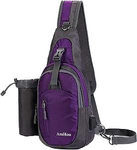 AmHoo Sling Backpack Chest Shoudler Crossbody Bag Waterproof Hiking Daypack Small Purple