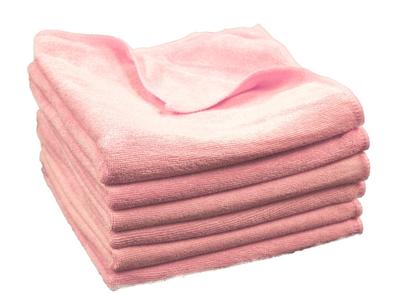 Imperial Front Microfiber Multi-Purpose Cleaning Towels Perfect for Kitchens, Dishes, Car Care, Dusting, Drying Rags, Large 16'' x 16'', Bundle Set of 48 - Baby Pink