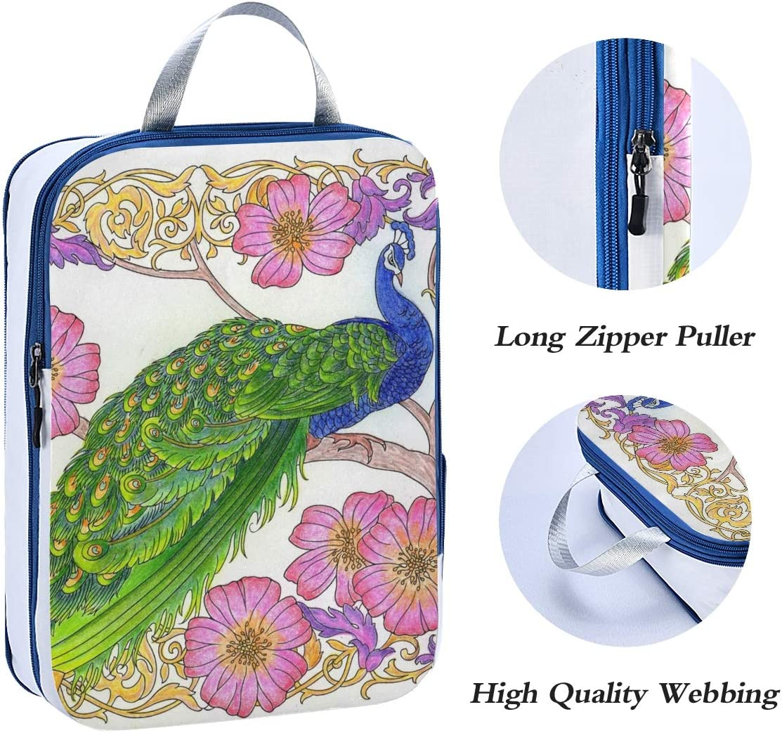 LUPINZ Amazing Peacock Painting Travel Luggage Packing Organizers 3 Pieces Travel Cubes
