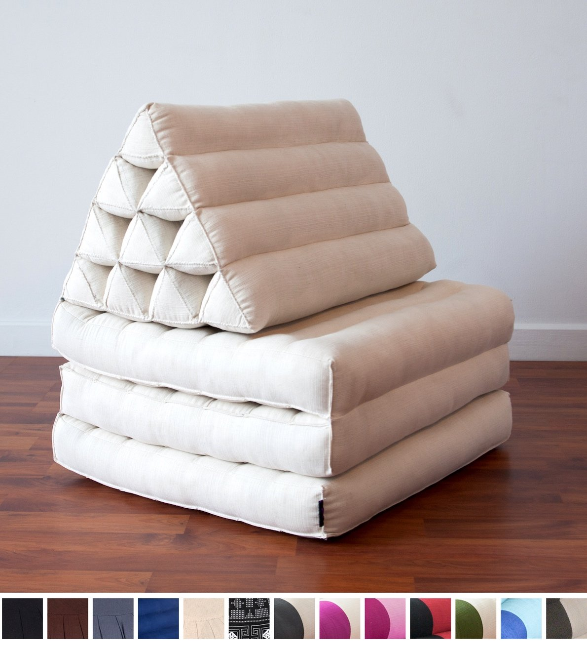Leewadee Foldout Triangle Thai Cushion, 67x21x3 inches, Kapok Fabric, White, Premium Double Stitched by Leewadee